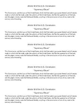 Civics Unit 5 Supremacy Clause