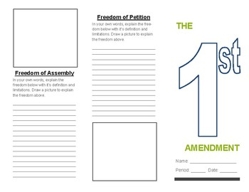Civics Unit 6 Day 2 First Amendment Brochure
