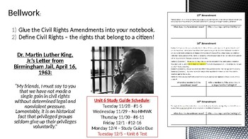 Civics Unit 6 Day 8+9 Civil Rights Amendments and Movements