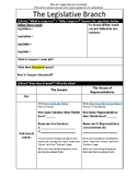 Civics Unit 7 Day 1 + 2 Legislative Branch Info Sheet Activity