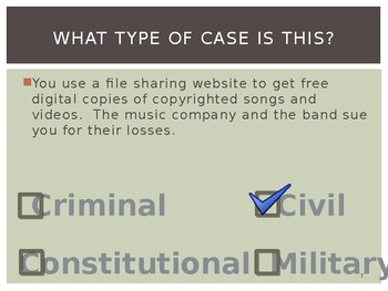 Civics Unit 9 Day 5 Types of Court Cases Powerpoint and Activity