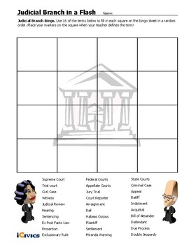 Civics Unit 9 Day 7 Modified Court Bingo Sheet by Conquering ...