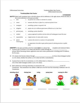 Civics Unit of Citizenship including an Assessment