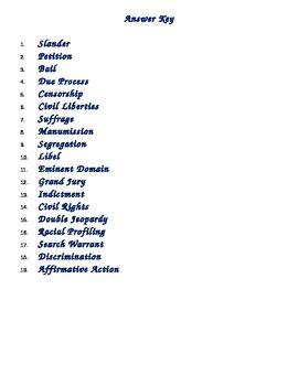 Civics Vocabulary Activity