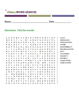 Civics Vocabulary Word Search