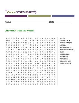 Civics Vocabulary Word Search