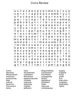 Civics Word search
