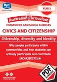 Civics and Citizenship: Citizenship, diversity and identity – Year 3