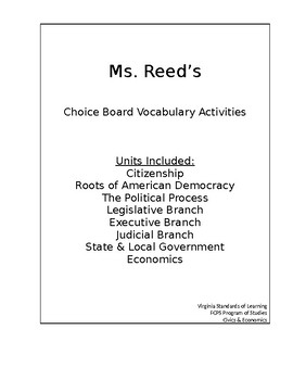 Civics and Economics Choice Board Activities