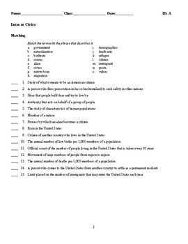 Civics and Economics Test - BUNDLE - Matching, Completions, and Multiple Choice