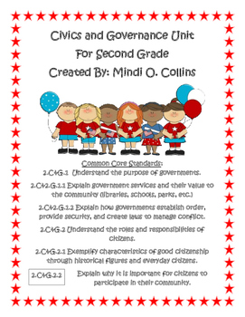 Civics and Governance Social Studies Packet for Second Grade (2C&G.1 and 2C&G.2)