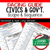 Civics and Government Pacing Guide, Scope and Sequence FREE, Civics Curriculum