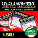 Civics and Government Outline Notes JUST THE ESSENTIALS Unit Review BUNDLE