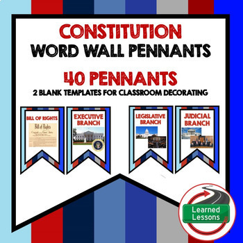 Civics and Government Pennant Word Wall BUNDLE (419 Words) Civics Bundle