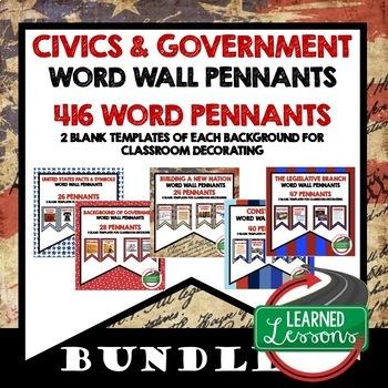 Civics and Government Pennant Word Wall BUNDLE (419 Words) Civics Bundle