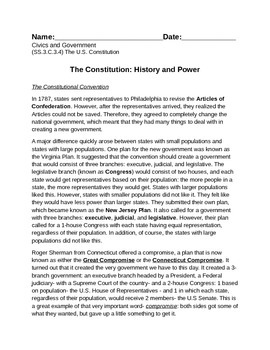 Civics and Government (SS.3-5.C.3.4) The U.S. Constitution