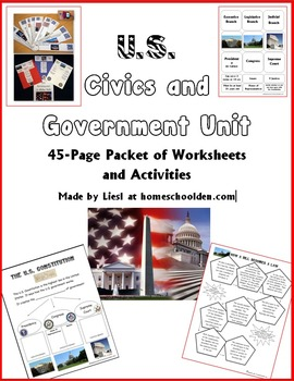 Civics and Government Unit: 30-Page Packet of Worksheets & Activity Cards