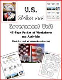 Civics and Government Unit: 30-Page Packet of Worksheets &
