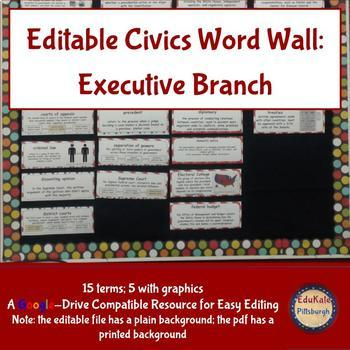 Civics and Government Word Wall: Executive Branch