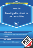 Civics and citizenship: Making decisions in communities