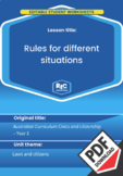 Civics and citizenship: Rules for different situations