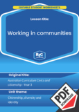 Civics and citizenship: Working in communities