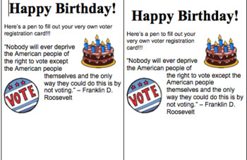 Civics or AP Government Birthday Slip