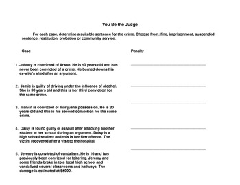 Civics/Law Worksheets: the Canadian Legal System