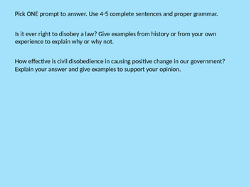 Civil Disobedience PowerPoint and Activity