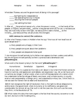 Civil Disobedience Reading Check