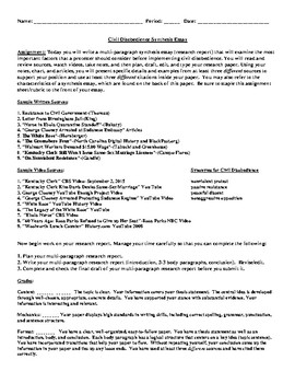 Proposal Essay Topic Ideas Civil Disobedience Synthesis Essay What Is Thesis Statement In Essay also Examples Of Persuasive Essays For High School Civil Disobedience Synthesis Essay By Debbies Den  Tpt Locavores Synthesis Essay