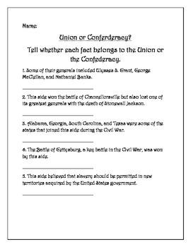 Civil War Five Question Pretest: 5th Grade Social Studies / Government