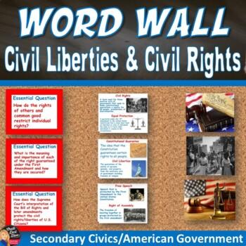 Civil Liberties/Civil Rights Vocabulary Word Wall Posters (Civics)