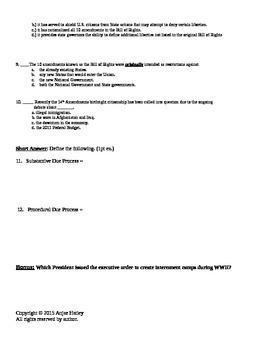 Civil Liberties Quiz A