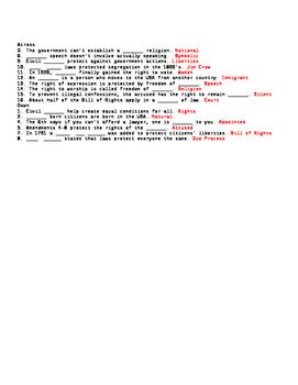Civil Liberties and Civil Rights Crossword or Webquest