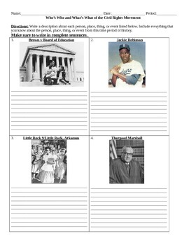 Civil Rights: Who's Who and What's What Assignment