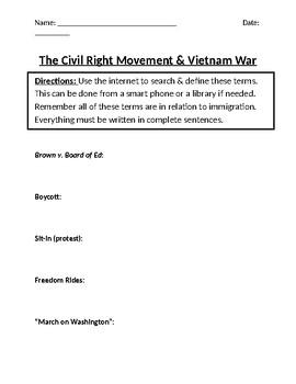 U.S. Civil Rights Movement & Vietnam War Homework Definitions