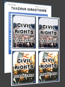 Civil Rights - 32 Civil Rights Task Card with Student Handout and Answer Key