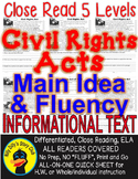 Civil Rights Acts 5 LEVEL PASSAGES Main Idea Fluency Check TDQs & More!!!
