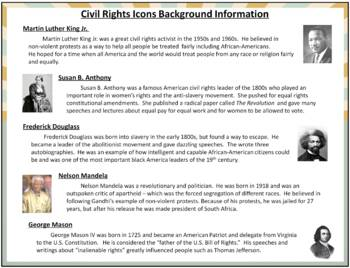 Civil Rights Bingo Game Distance Learning Homeschool Ready