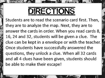 Civil Rights (Black History) Escape Review Task Card Game Activity
