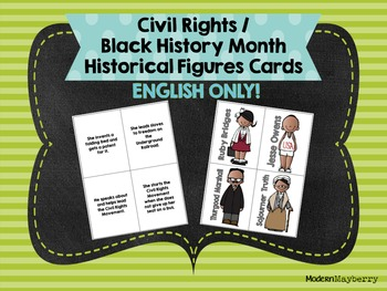Civil Rights / Black History Month Historical Figures Cards ENGLISH ONLY