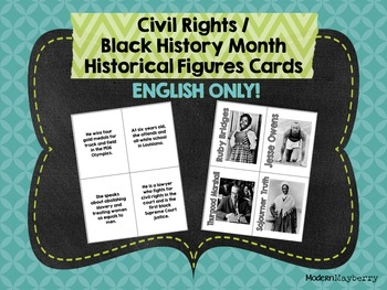 HS Civil Rights / Black History Month Historical Figures Cards ENGLISH ONLY