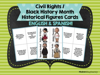 Civil Rights / Black History Month Historical Figures Cards ENGLISH & SPANISH