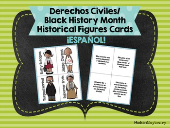 Civil Rights / Black History Month Historical Figures Cards SPANISH ONLY Español