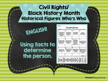 Civil Rights / Black History Month Historical Figures Who's Who ENGLISH Facts