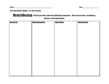 Civil Rights BrainDump Graphic Organizer