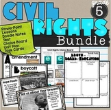 Civil Rights Bundle SS5H6 Lessons, notes sheet, task cards