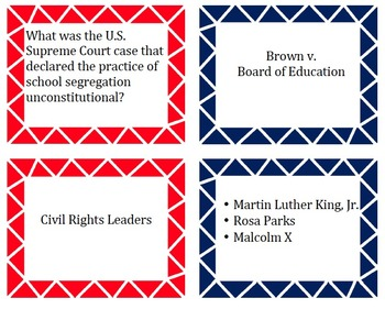 Civil Rights Card Matching Game