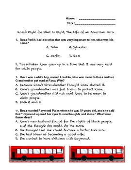Civil Rights Children's Book Study Guide- Rosa Parks, Martin Luther King Jr.